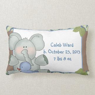 Boy Baby Elephant Blue Zebra Stripe Rubber Duck Lumbar Pillow