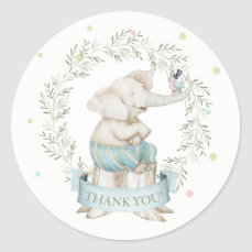 Boy Baby Elephant Pink Green Blue Classic Round Sticker