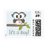 Boy Baby Owl Postage Stamp