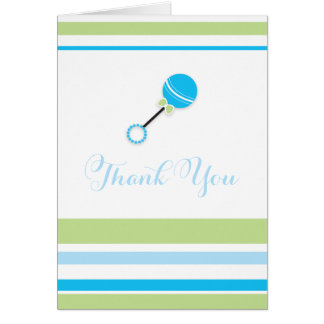 Boy Baby Rattle  |  Thank You Card Cards