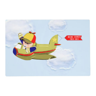 boy baby shower airplanes placemat