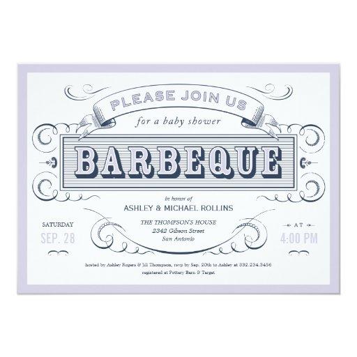 Boy Baby Shower BBQ Invitations