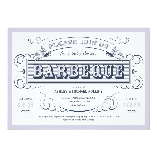 Boy Baby Shower BBQ Invitations