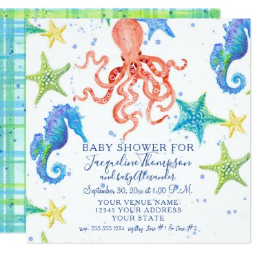 Beach Themed Boy Baby Shower Beach Starfish Octopus Seahorse Card