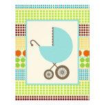 Boy Baby Shower Blue Carriage & Boho Dots Invite