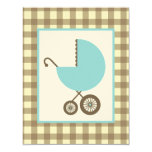 Boy Baby Shower - Blue Carriage & Brown Gingham Personalized Invitation