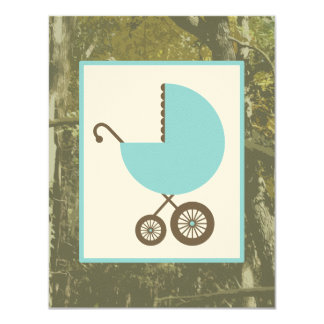 Boy Baby Shower - Blue Carriage & Camouflage Card