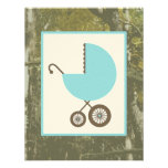 Boy Baby Shower - Blue Carriage & Camouflage Personalized Invite