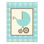 Boy Baby Shower - Blue Carriage & Plaid Invitation