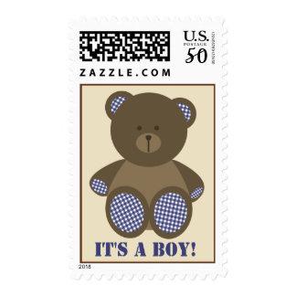 Boy Baby Shower - Blue Gingham Stuffed Bear Postage