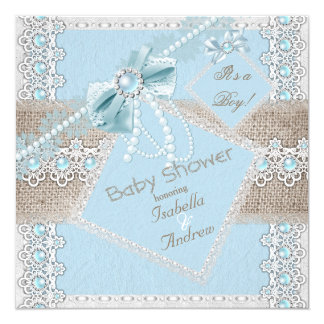 Boy Baby Shower Blue Pearl Bow Lace Vintage 2 5.25x5.25 Square Paper Invitation Card