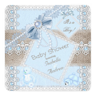 Boy Baby Shower Blue Pearl Bow Lace Vintage Bears Card