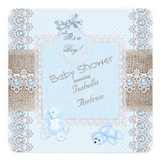Boy Baby Shower Blue Pearl Lace Vintage Bears Spot Card