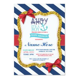 Boy Baby Shower Blue Red Ahoy Sailor Stripe Invite