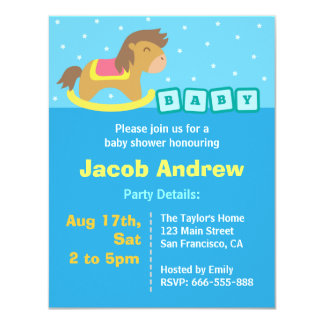 Boy Baby Shower Blue, Rocking Horse 4.25x5.5 Paper Invitation Card