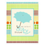 Boy Baby Shower Blue Umbrella & Boho Dots Custom Announcement