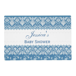 BOY BABY SHOWER Blue Vintage Damask Pattern A23 Placemat
