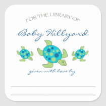 Boy Baby Shower bookplates / sea turtles