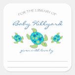 Boy Baby Shower bookplates / sea turtles Square Sticker