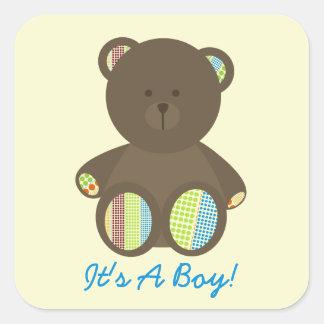 Boy Baby Shower Brown Stuffed Bear Boho Dots Square Sticker