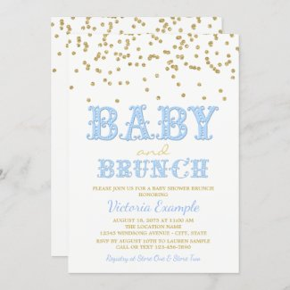 Blue Brunch Baby Shower Invitations