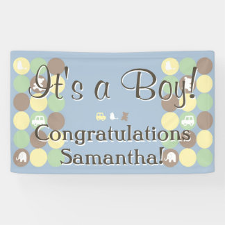 Boy Baby Shower Custom Printed Blue Brown Dots Banner