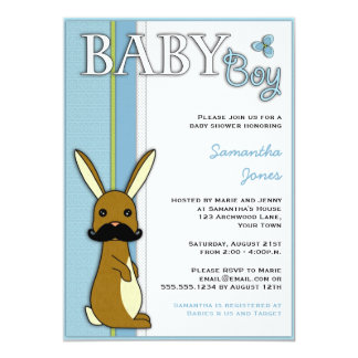 """Boy Baby Shower Cute Bunny with Mustache - Blue 5"""" X 7"""" Invitation Card"""