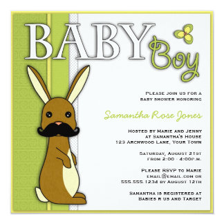 Boy Baby Shower Cute Bunny with Mustache - Green Personalized Invitation