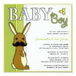 Cute Bunny With Mustache Baby Shower Invitation (Boy)
