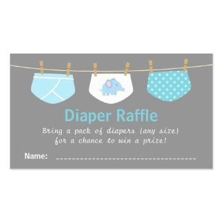 Boy Baby Shower, Cute Diaper Raffle Tickets Double-Sided Standard Business Cards (Pack Of 100)
