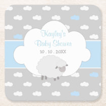 Boy Baby Shower (Fluffy Sheep with Cloud) Square Paper Coaster