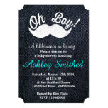 "Boy Baby Shower Funny White Mustache Blue Denim 5"" X 7"" Invitation Card"