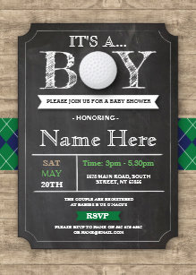 Sports baby shower invitations zazzle boy baby shower golf ball sports chalk invite filmwisefo