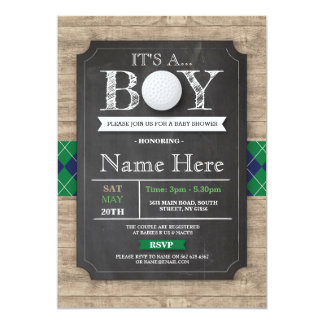Boy Baby Shower Golf Ball Sports Chalk Invite