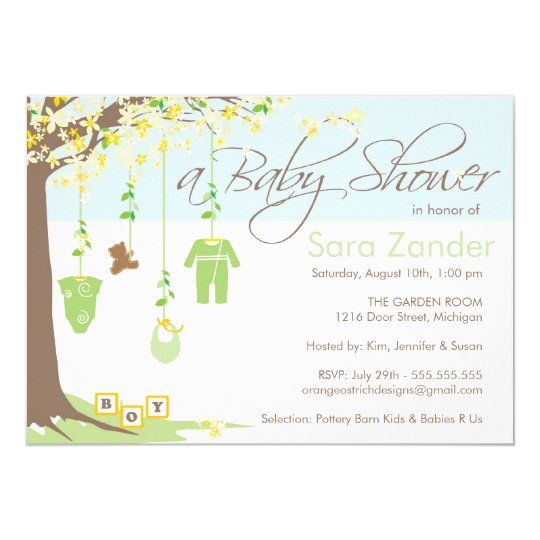 Boy Baby Shower Invitation - Baby Clothes