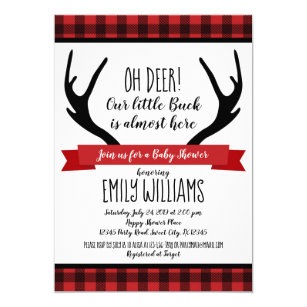 Boy baby shower invitation Buffalo Plaid Deer