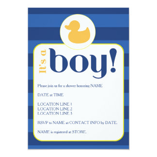 Boy Baby Shower Invitation - Duck and Stripes 2