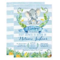 Boy Baby Shower Invitation, Elephant Baby Shower Card