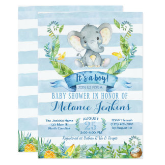 Boy Baby Shower Invitation, Elephant Baby Shower Invitation