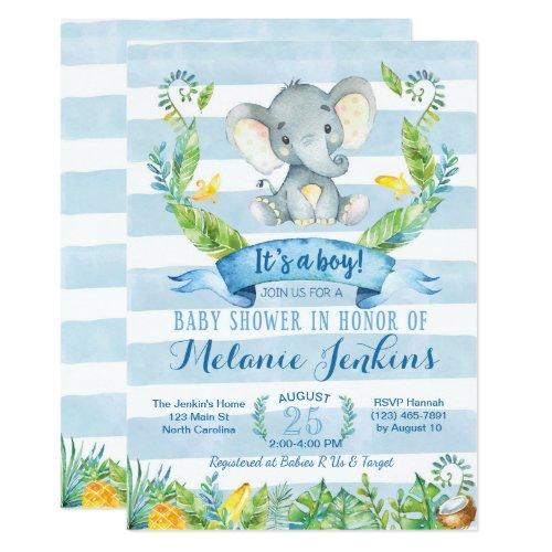 Boy Baby Shower Invitation, Elephant Baby Shower Invitation
