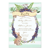 boy baby shower invitation forest rabbit bunny