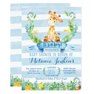 Boy Baby Shower Invitation, Giraffe Baby Shower Card