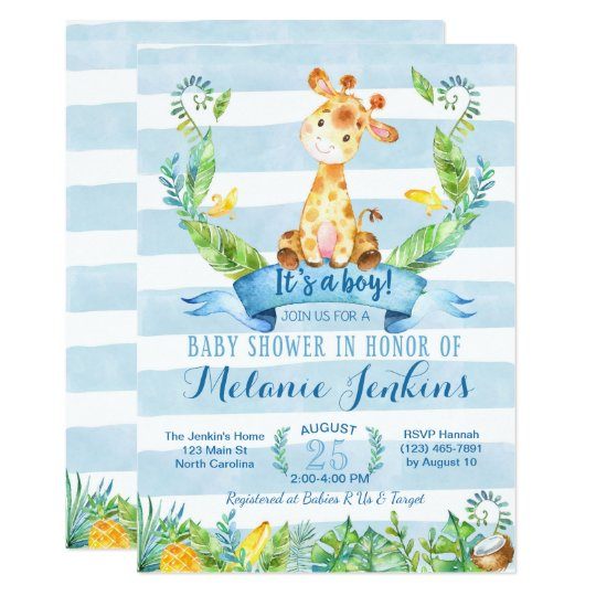 Boy baby shower invitation giraffe baby shower invitation zazzle boy baby shower invitation giraffe baby shower invitation filmwisefo