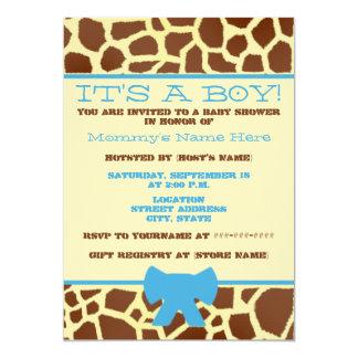 Boy Baby Shower Invitation - Giraffe Print & Blue