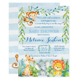 Boy Baby Shower Invitation, Jungle Baby Shower Card