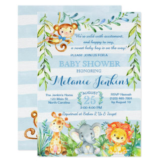 Boy Baby Shower Invitation, Jungle Baby Shower Card