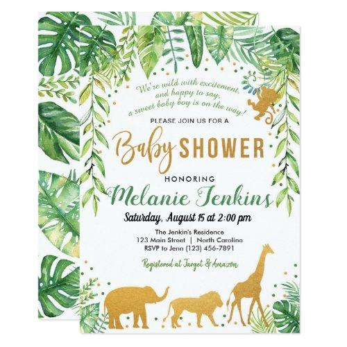 Boy Baby Shower Invitation Jungle Baby Shower Invitation