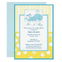 Boy Baby Shower Invitations Baby Whales