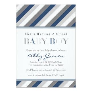 "Boy Baby Shower Invitations, Navy, Gray 875 5"" X 7"" Invitation Card"