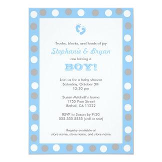 Boy Baby Shower Invites / blue gray grey white